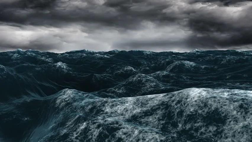 Animated Sky Wallpaper Digital Animation Of Stormy Blue Ocean Under Dark Sky