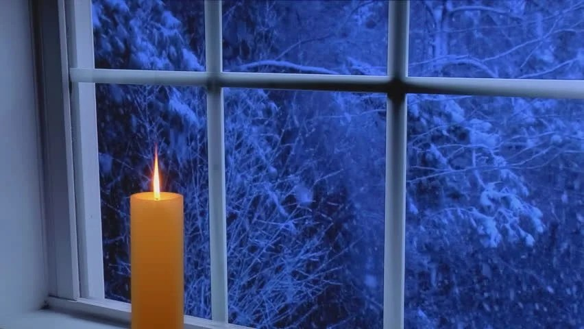 Free Animated Desktop Wallpaper Like Snow Falling On Background Red Glowing Candle In Front Of A Window With Heavy Snow