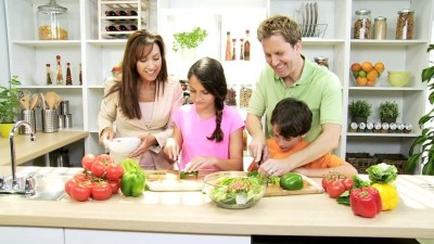 Healthy Professional Caucasian Family Cooking Home Kitchen ...