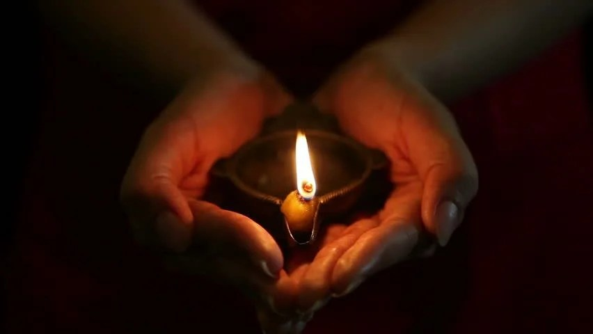 Animated Diwali Diya Wallpapers Hands Holding A Single Brass Oil Lamp Stock Footage Video