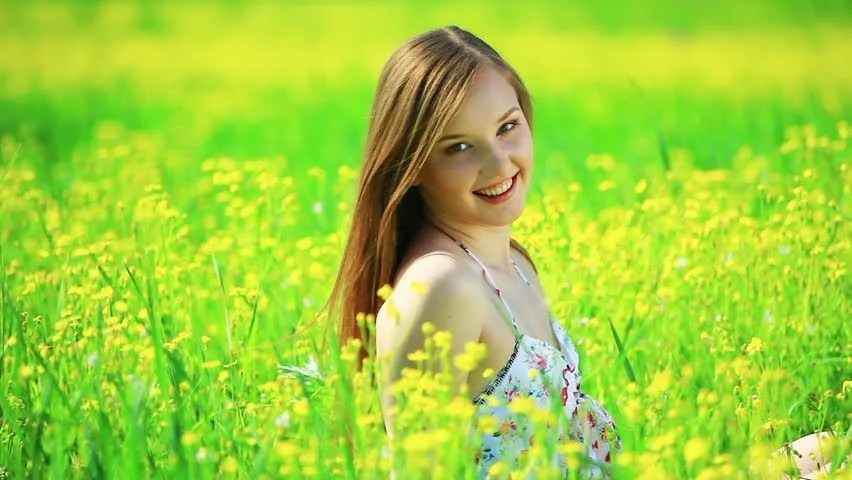 Sad Smile Girl Wallpaper Happy Teen Spinning In A Field Of Flowers Stock Footage
