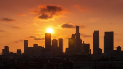 Beautiful Sunset Over Downtown Los Angeles City Skyline. Time Lapse. Stockvideos & Filmmaterial ...