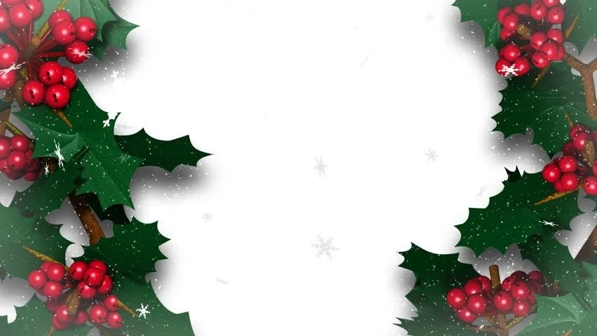 Falling Leaves Wallpaper Animated Christmas Holly Ivy With Snow Flakes Falling Stock Footage