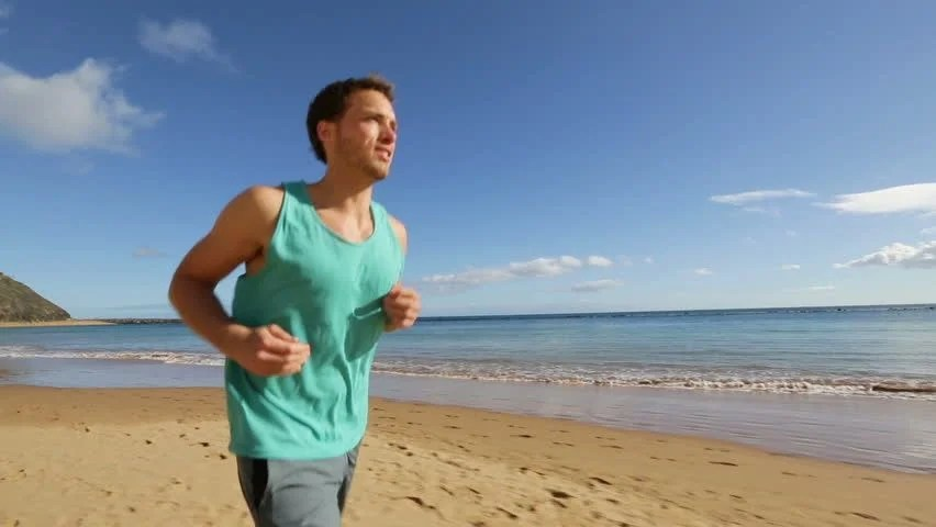 Running Jogging Music Download Running Sport Man Jogging On Beach Training Outdoors For