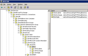 Microsoft-Server-ActiveSync and  OMA Missing From Active Directory