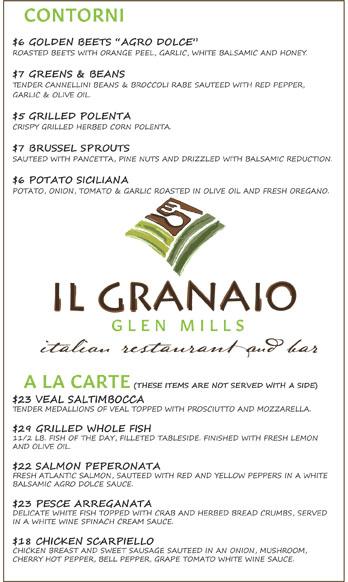 Il Granaio Italian Restaurant Dinner Menu Fresh, Homemade, Local