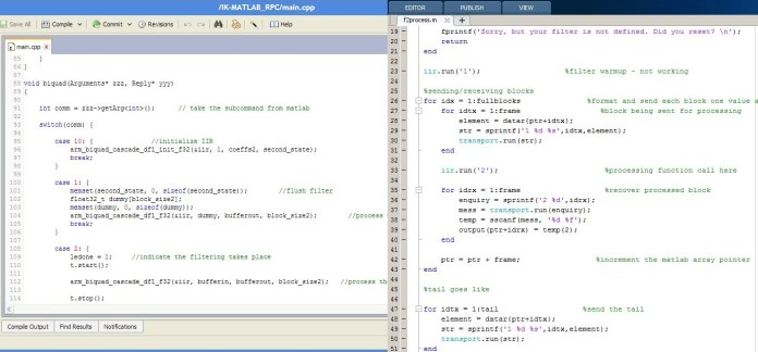 Parallel coding in mbed and MATLAB