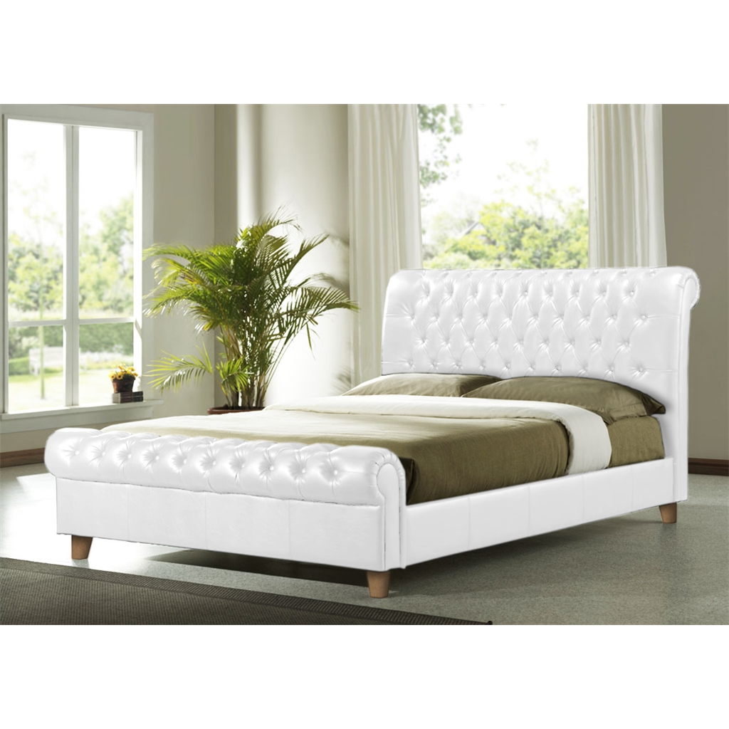White Double Bed With Mattress White Faux Leather Bed Frame King Size 5ft