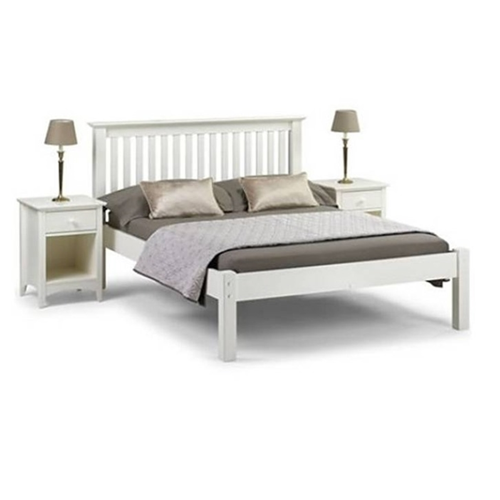 Shaker Style Double Bed Stone White Finish Shaker Style Low Foot End Bed Double
