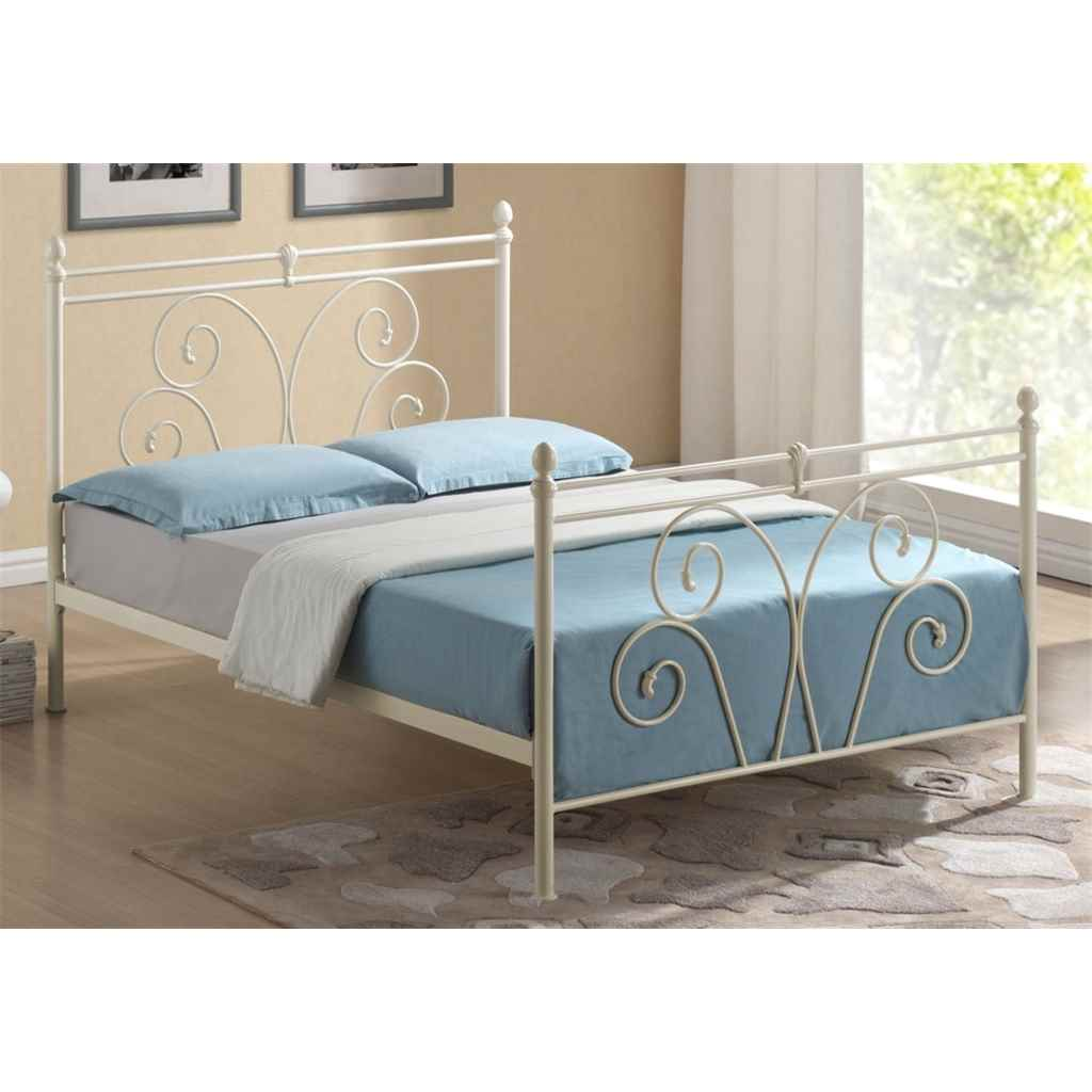 4ft 6 Bed Flower Bud Style Ivory Metal Bed Frame Double 4ft 6