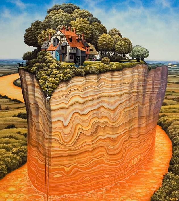 Waterfall Island In Kitchen Amazing Surreal Paintings By A Polish Artist Jacek Yerka