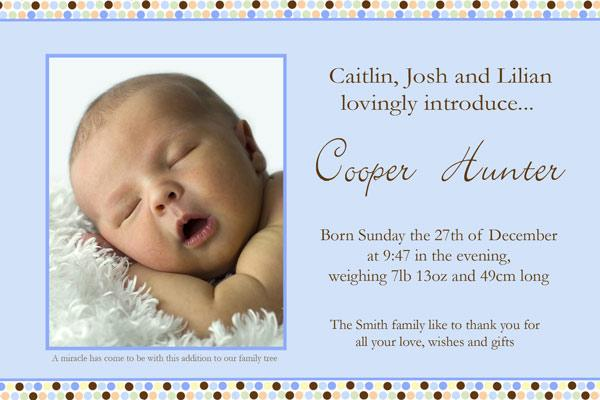 Birth Announcements and Baby Thank You Photo Cards for Boys Blue Spots