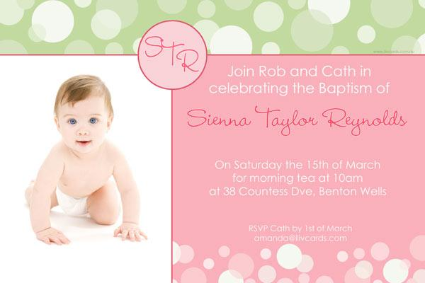 Baptism, Christening and Naming Invitations for Girls with Sage