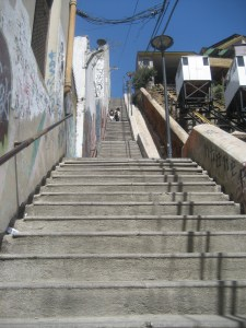 Fonicular and stairs in Valparaiso, Chile