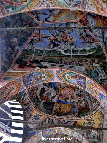 Rila Monastery church portico ceiling
