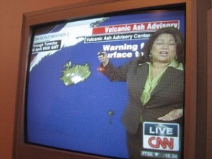 CNN anchor talking about the volcano - or about to eat Iceland