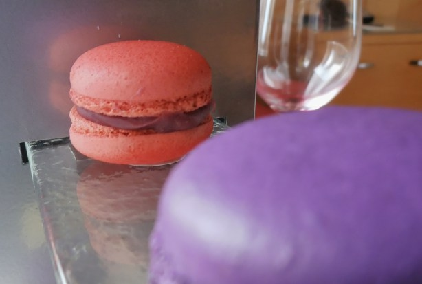 Delicious pink and purple macarons at the Sofitel in Chicago