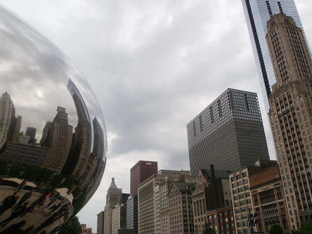 Chicago's high buildings reflected on the Cloud Gate, or The Bean