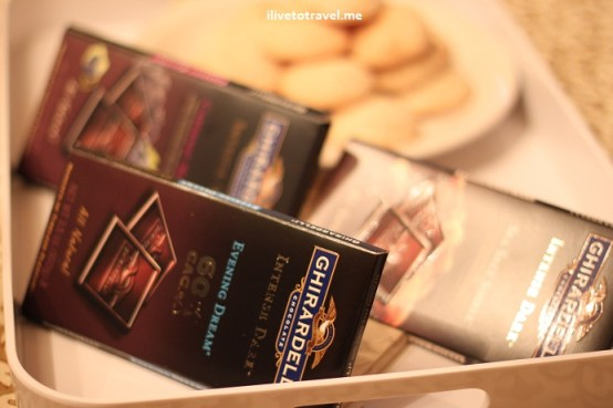 Ghirardelli dark chocolate awaiting the start of a wine tasting