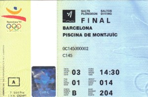 1992 Olympics, ticket, event, diving, final, competition, Barcelona, Olympic Games