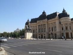 University Library Building in C. Victoriei in Bucharest, Romania