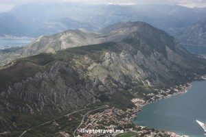 View from up high of Kotor Bay in Montenegro