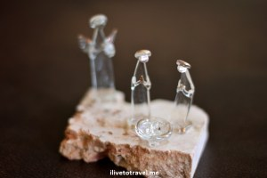 Manger scene made from glass