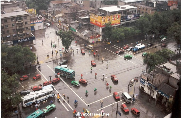 Xi'an - Traffic at an intersection in Xian, China