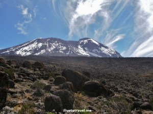 Mt. Kilimanjaro with a beautiful blue sky and clouds
