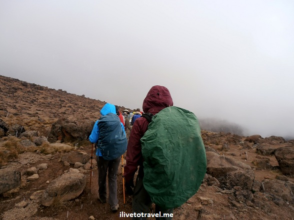 Daypacks covered during a storm in Mt. Kilimanjaro