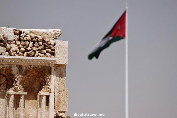 Umayyad governor palace amman jordan flag architecture detail Canon EOS Rebel