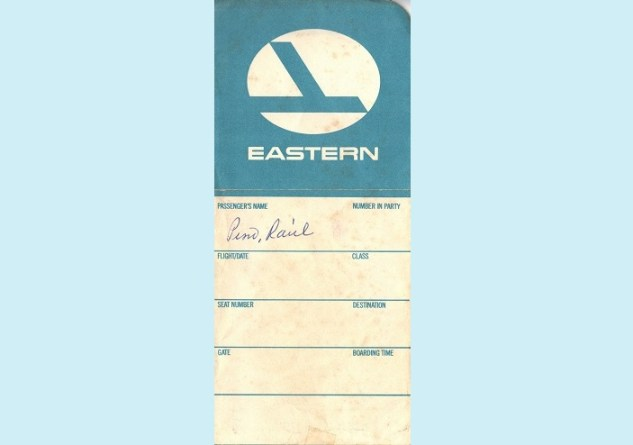 Eastern Airlines plane ticket cover circa 1982 travel nostalgia flight