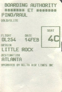 boarding pass, delta, airline, travel, Little Rock, Arkansas, hotel