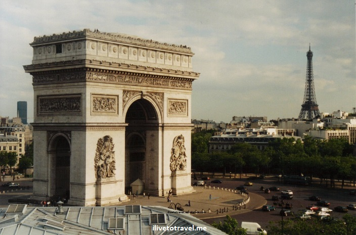 Arc de Triomphe, Eiffel Tower, Tour Eiffel, Paris, France, view, vista, Canon EOS Rebel, photo, city, magnificent