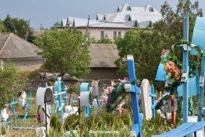 Moldova, cemetery, blue cross, cross, dark sky, white cross, unique cemetery, travel, photo, Canon EOS Rebel