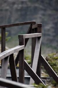 Handrail on the path to visit the Serrano glacier