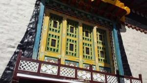 Typical Tibetan design in a window at Namche Bazaar