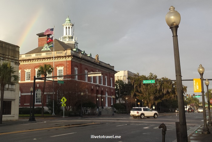 downtown, Brunswick, Georgia, red brick, architecture, charming, photos, rainbow, flag