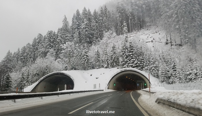 drive, driving, Austria, Lech, Vorarlberg, winter, snow, road, tunnel