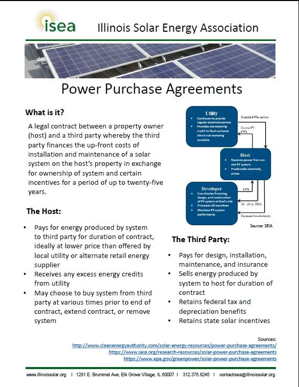 Illinois Solar Energy Association - What is a PPA? - power purchase agreement