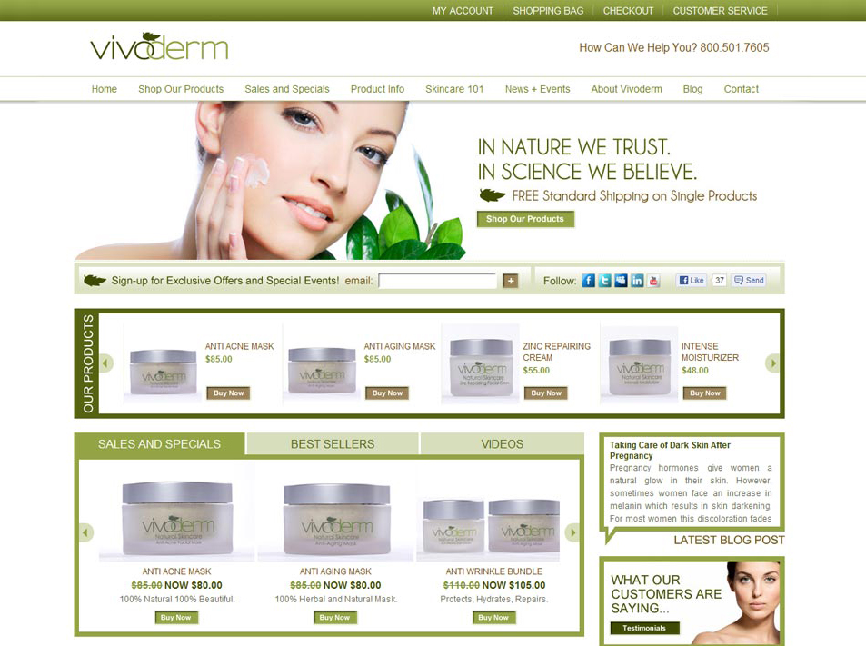 vivoderm, skincare website design