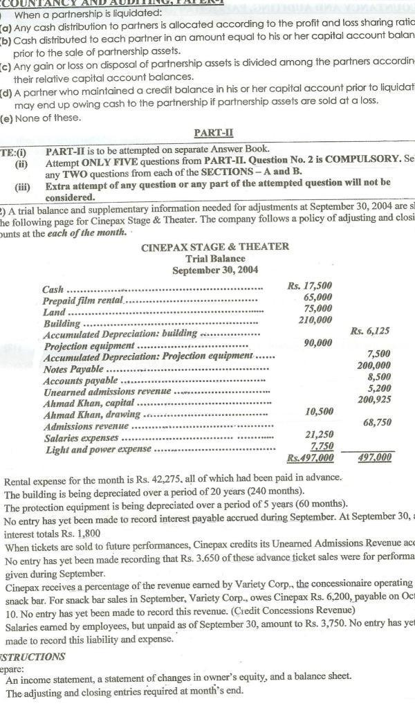 CSS Accountancy and Auditing Past Paper 2011 4