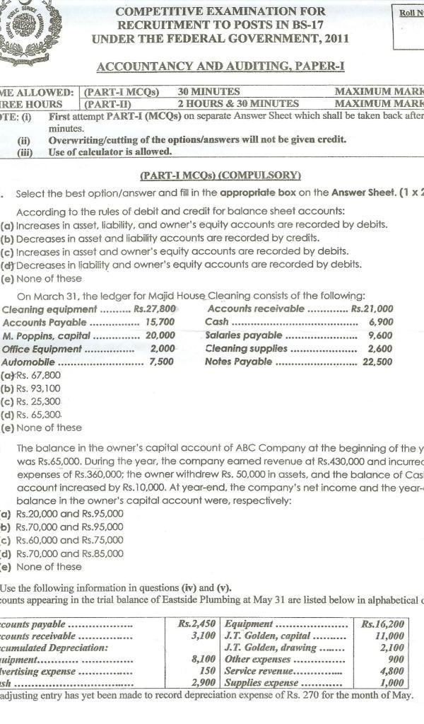 CSS Accountancy and Auditing Past Paper 2011