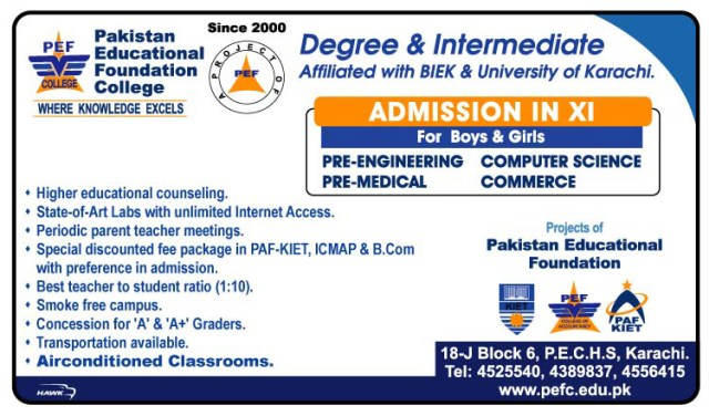 Pakistan Education Foundation College PEFC Admissions 2015