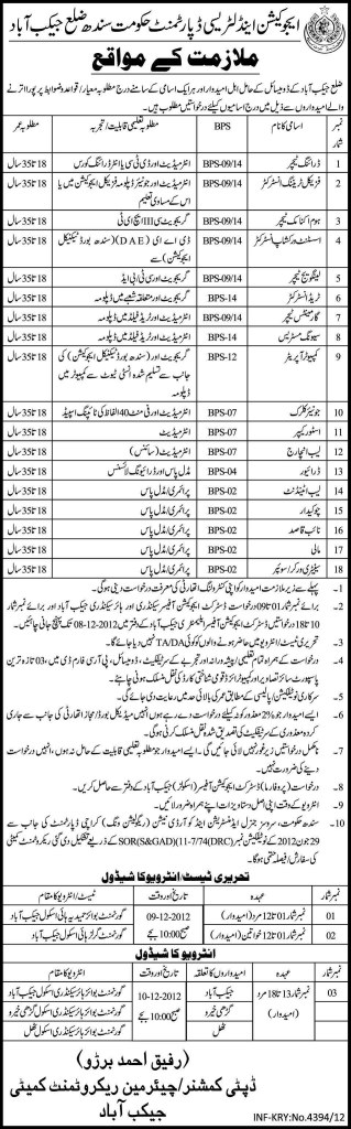 Education And Literacy Department Sindh Government Teaching Jobs 2012