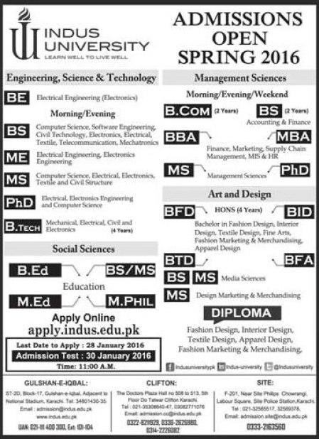 Indus University Karachi Admission 2016 Spring Form, Criteria