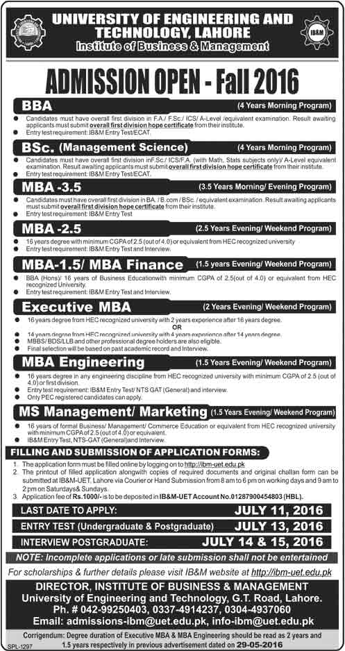 UET IBM Institute of Business & Management Lahore Admissions 2016