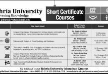Bahria University BU Short Courses Admissions 2015 Online Registration Schedule