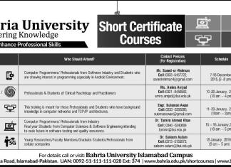 Bahria University BU Short Courses Admissions 2015 Online Registration Schedule