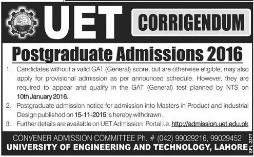 UET Lahore Master, MSc, M.Phil Admission 2015-2016
